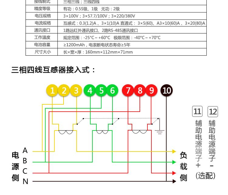 杭州海兴dtsd208三相四线电子式多功能电能表